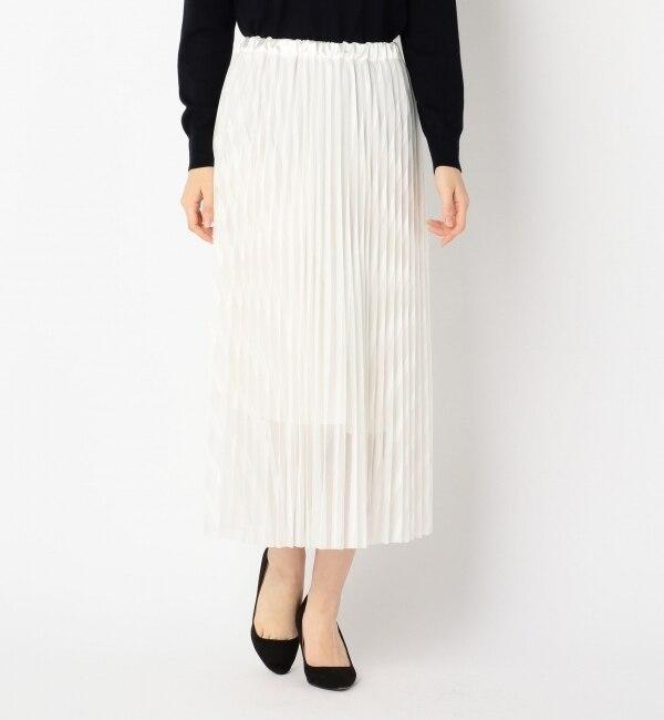 【アルカリ/alcali】 ストライプチュールレース アコーディオンプリーツスカート [送料無料]