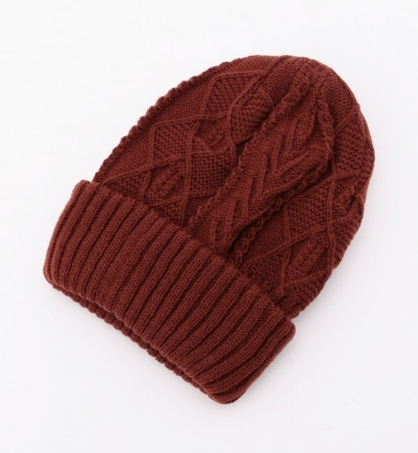 【アルカリ/alcali】 alcali/リブ×ケーブル編み リバーシブルニット帽