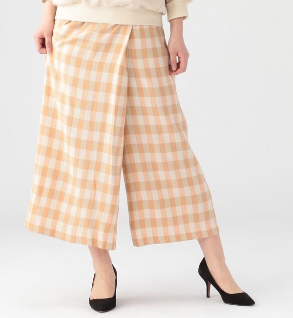 【リエス/Liesse】 ギンガム巻き風パンツ