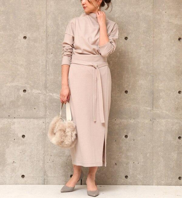 【リエス/Liesse】 ウエストリボン付きタイトスカート