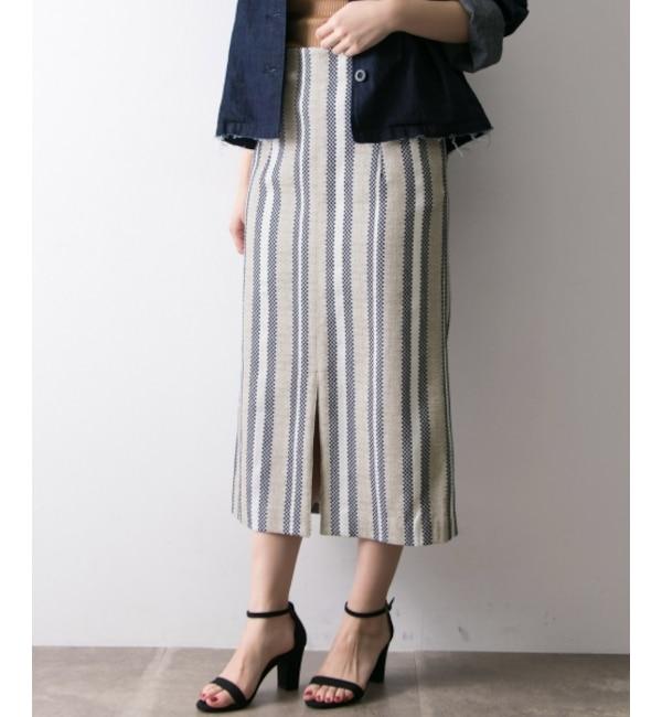 【アーバンリサーチ/URBAN RESEARCH】 UR ストライプツイードロングタイトスカート's image