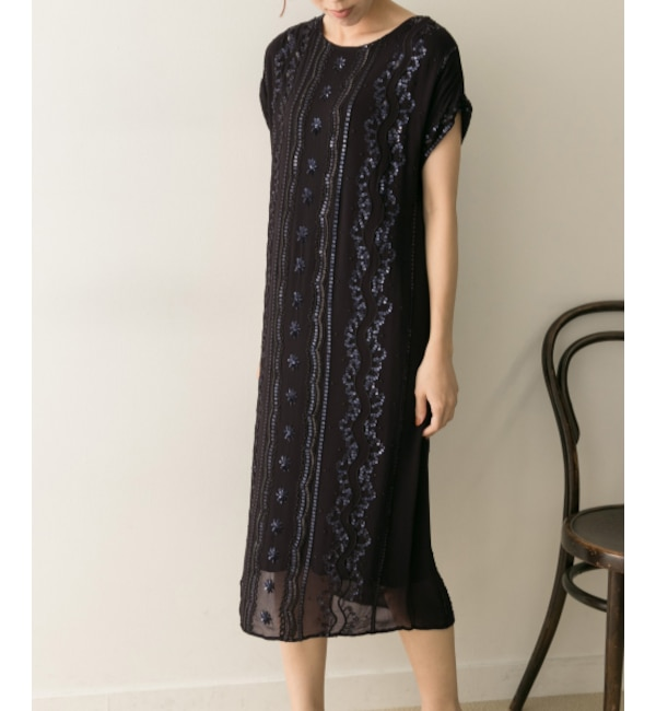 【アーバンリサーチ/URBAN RESEARCH】 UR ne Quittez pas RAYON GGT BEADS EMB DRESS