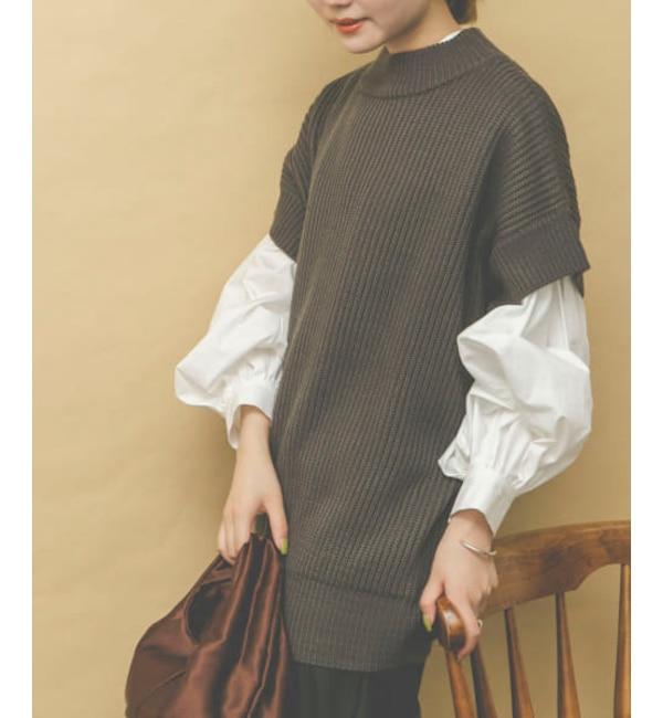 【WEB限定】シャツレーヤードニットベスト