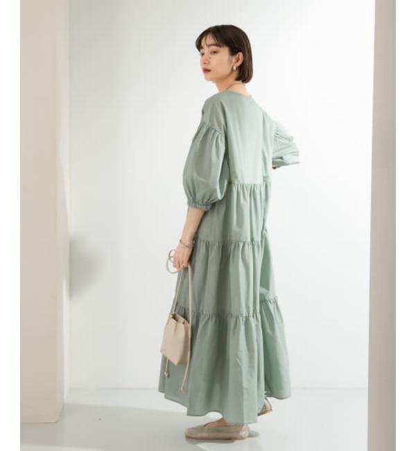 KBF 【WEB限定】マキシティアードワンピース