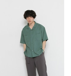 【センスオブプレイスバイアーバンリサーチ/SENSEOFPLACEbyURBANRESEARCH】SENSEOFPLACEモダールオープンカラーシャツ(5分袖)[送料無料]