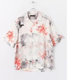 【センスオブプレイスバイアーバンリサーチ/SENSEOFPLACEbyURBANRESEARCH】【予約】SENSEOFPLACEフラワーオープンカラーシャツ(5分袖)[送料無料]
