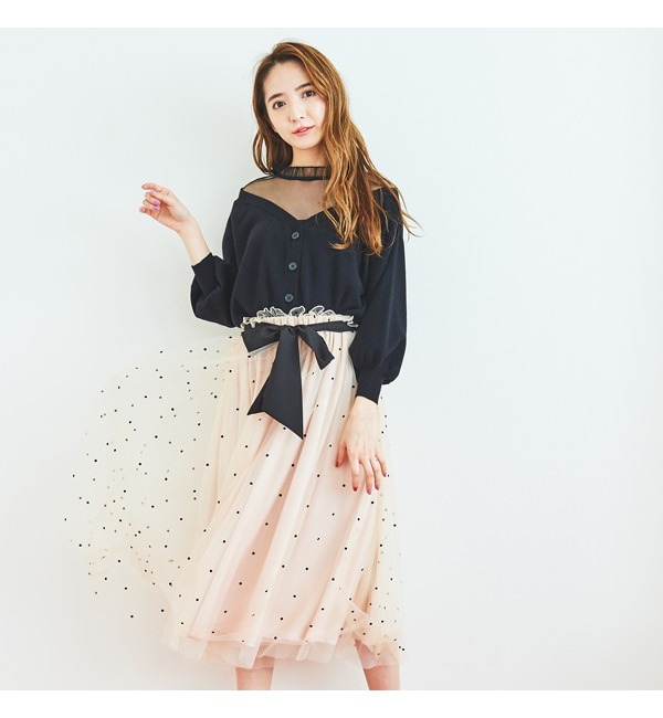 【ティティーアンドコー/titty&Co.】 リボンチュールスカート