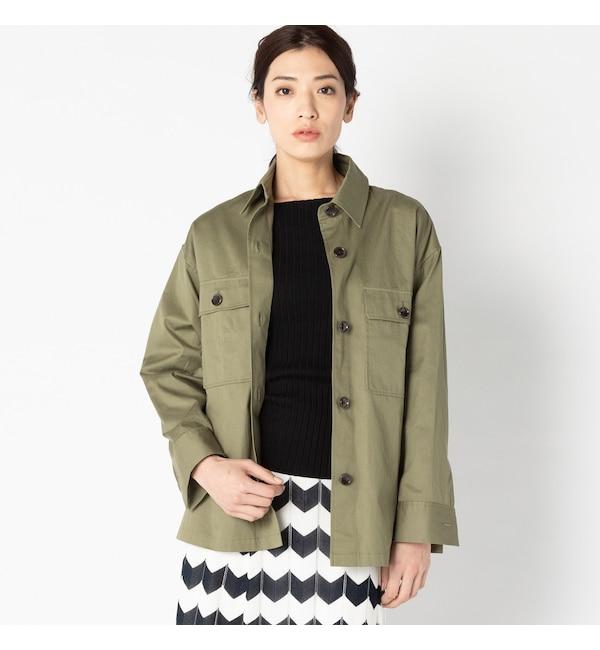 【エリオポール/HELIOPOLE】 HELIOPOLE コットンツイル ミリタリーシャツジャケット