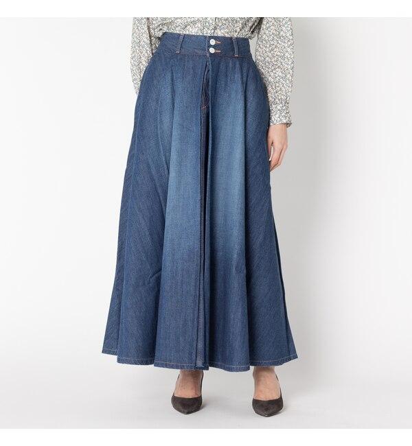 【エリオポール/HELIOPOLE】 woadblue VERBENA Aライン インタック スカート