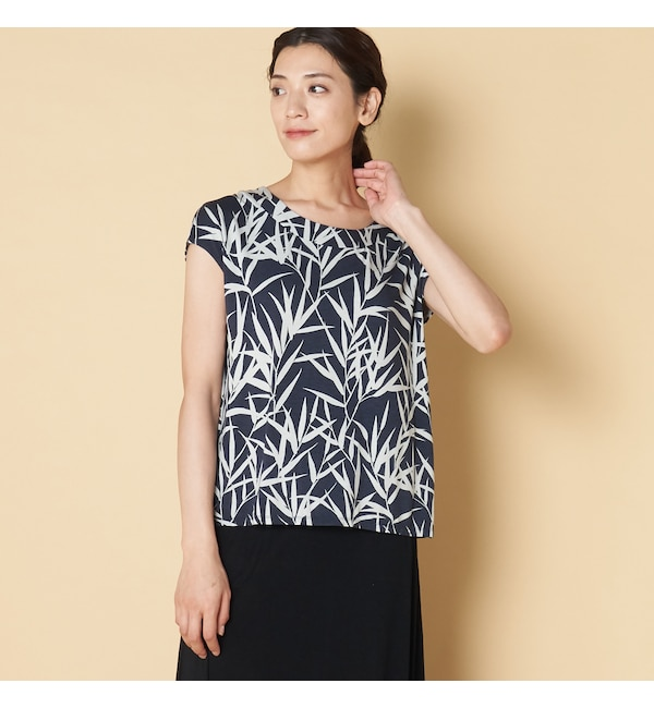 【エリオポール/HELIOPOLE】 THREE DOTS BAMBOO PRINT TOP W/BACK PLEAT