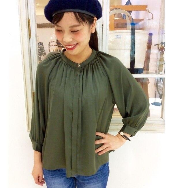 【ルクールブラン/le.coeur blanc】 サテンギャザースタンドカラーシャツ [送料無料]