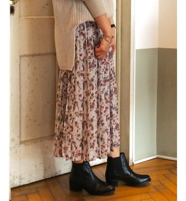 【ルクールブラン/le.coeur blanc】 シフォンフラワープリーツスカート [送料無料]