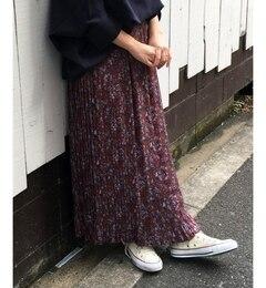 【ルクールブラン/le.coeur blanc】 ビンテージフラワープリーツマキシスカート [送料無料]