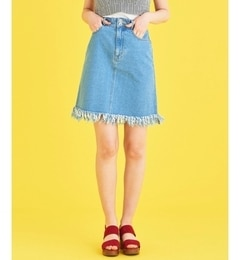 【マジェスティックレゴン/MAJESTIC LEGON】 デニムフリンジスカート [3000円(税込)以上で送料無料]