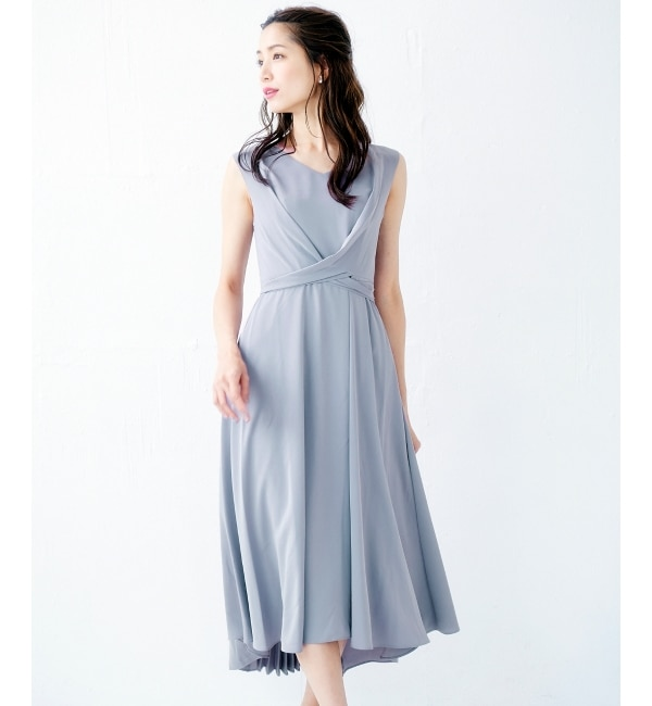 【ペルルペッシュ/Perle Peche】 バックプリーツVネックドレス