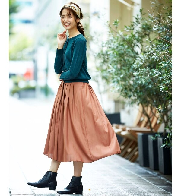 【ペルルペッシュ/Perle Peche】 マイクロスパンタックギャザースカート