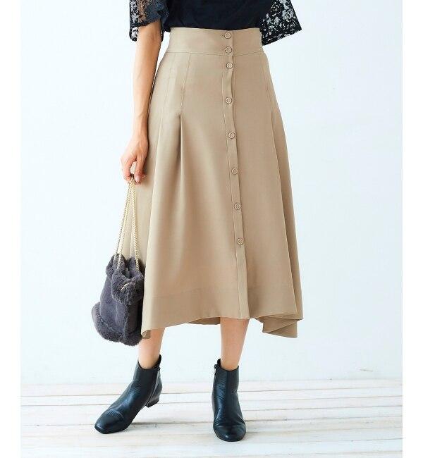 【ペルルペッシュ/Perle Peche】 フロントボタンフレアスカート