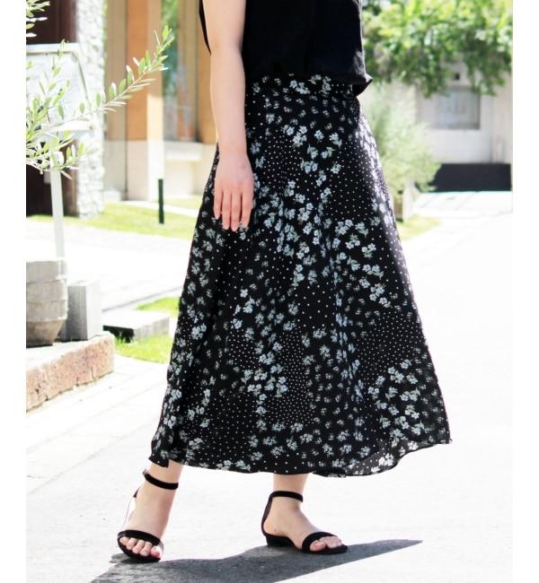 【ペルルペッシュ/Perle Peche】 eclatフラワー×ドット柄スカート