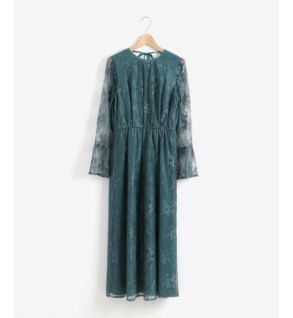 【ペルルペッシュ/Perle Peche】 Kaene ペプラムスリーブドレス