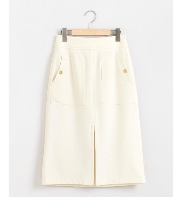 【ペルルペッシュ/Perle Peche】 ボックスプリーツツイルタイトスカート