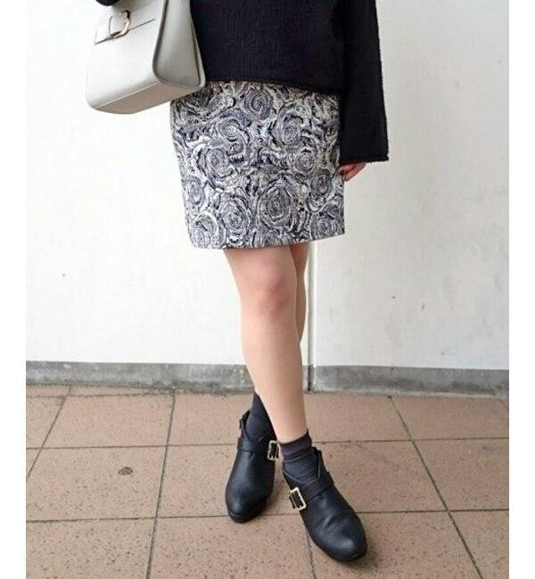 【アメリエル マジェスティックレゴン/amelier MAJESTIC LEGON】 ジャカードひざ丈台形スカート [送料無料]