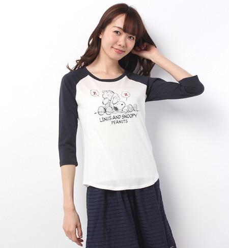 【アースミュージックアンドエコロジー/earth music&ecology】 Snoopy☆earthラグランプリントTシャツ [送料無料]