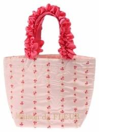 【メゾンドフルール/MaisondeFLEUR】ストライプフラワー刺繍フリルハンドルトートバッグ[送料無料]