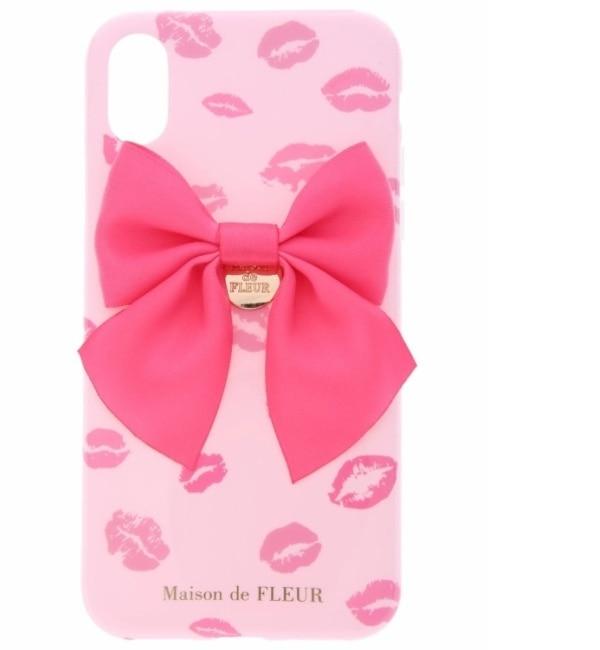 【メゾンドフルール/Maison de FLEUR】 《WEB限定》iPhoneX ピンクリップマークケース [3000円(税込)以上で送料無料]