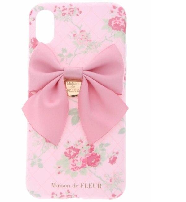 【メゾンドフルール/Maison de FLEUR】 《WEB限定》iPhoneX ピンクローズチェックケース [3000円(税込)以上で送料無料]
