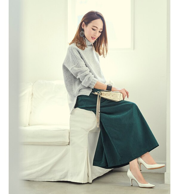 【ティティベイト/titivate】 ピーチスキンタックフレアロングスカート