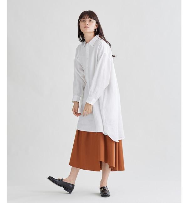 【シプリ/SIPULI】 サフィランリネン(100%)オーバーサイズシャツワンピース