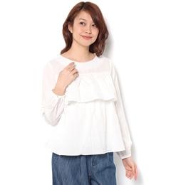 【テチチ/Techichi】胸フリル袖ギャザーブラウス[送料無料]