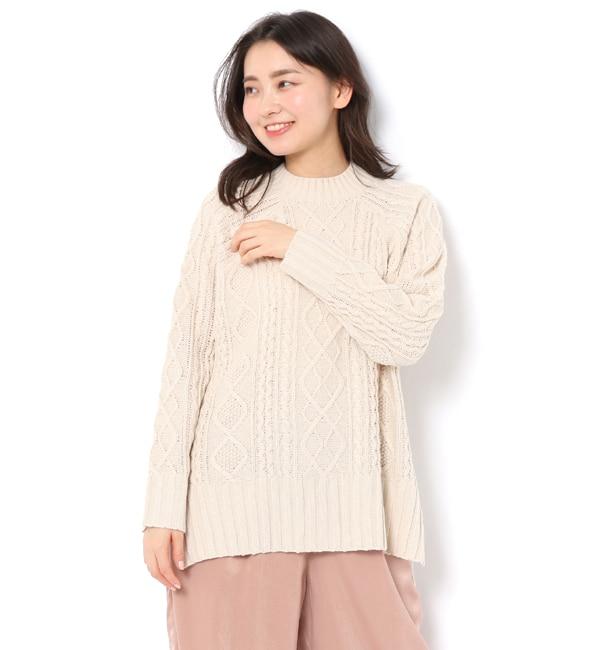 【テチチ/Te chichi】 ケーブル柄ハイネックプルオーバー LS