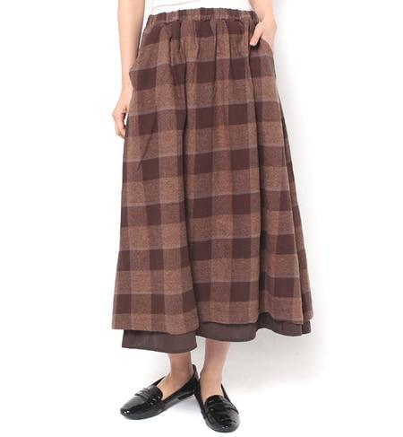【サマンサモスモス/Samansa Mos2】 ブロックチェック重ね着風スカート [送料無料]