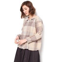 【サマンサモスモス/SamansaMos2】ヘリンボンBIGチェック前あきシャツ[送料無料]