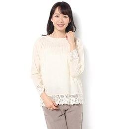 【サマンサモスモス/SamansaMos2】シャーリング裾レースブラウス[送料無料]