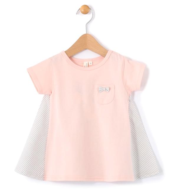 【ラーゴム/LAGOM】 オーガビッツストライプ切替フレアTシャツ