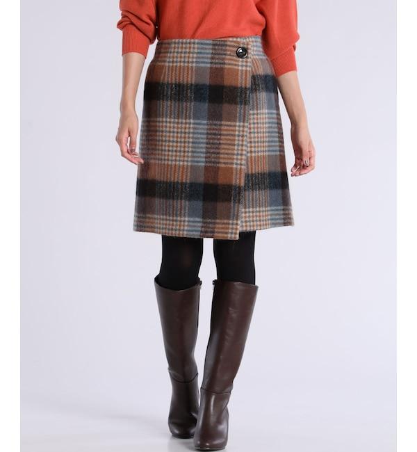 【マルシェ ド クリアインプレッション/MARCHE de CLEAR IMPRESSION】 モヘアカルゼチェック柄スカート