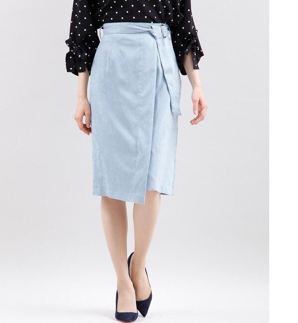 《大きいサイズ》ベルト付きフェイクスウェードラップ風スカート【エフデーゼ/EFDEISEE レディス 台形 サックス3 ルミネ LUMINE】