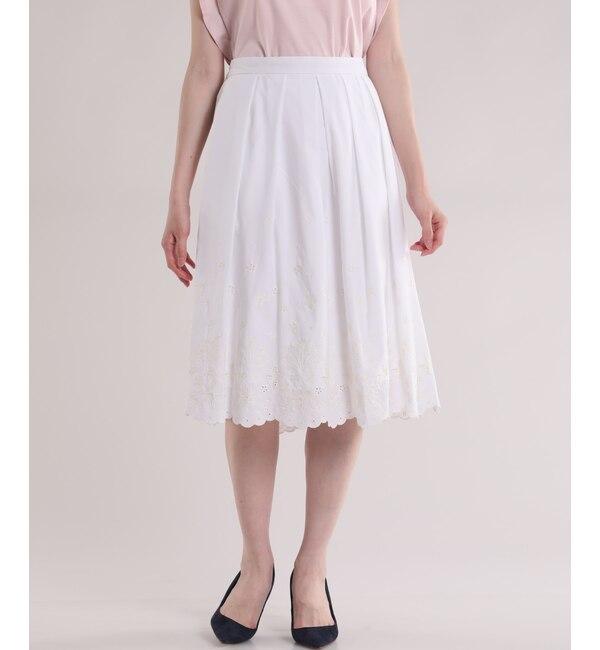 【エフデーゼ/EFDEISEE】 スカラップ刺繍フレアスカート