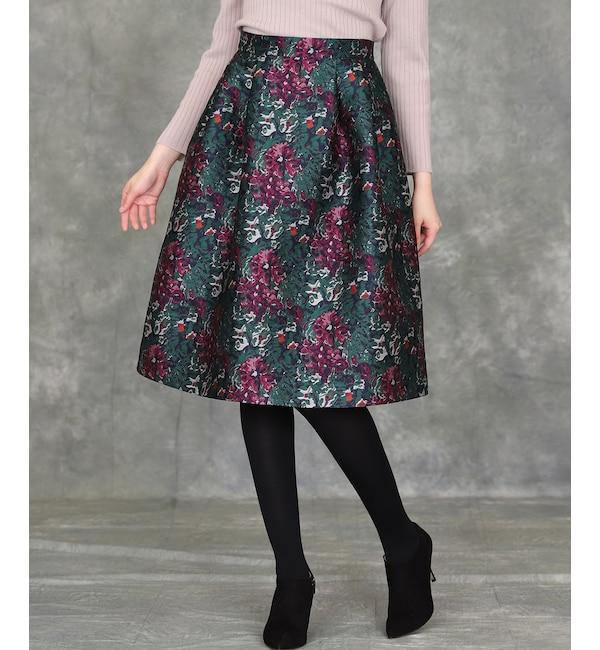 【エフデーゼ/EFDEISEE】 《Maglie par ef-de》フラワージャガードスカート