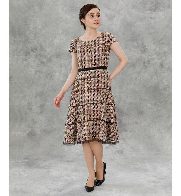 【エフデーゼ/EFDEISEE】 《M Maglie le cassetto》ファンシーツイードドレス