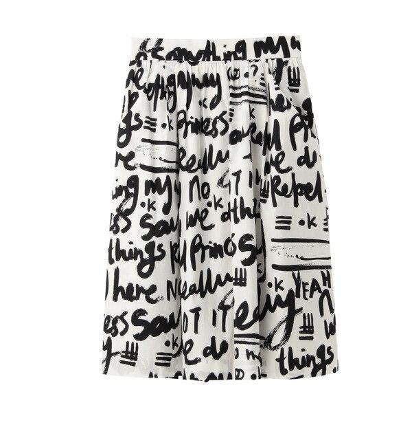 【アンタイトル/UNTITLED】 [L]【数量限定】ロゴデザインミディスカート [送料無料]