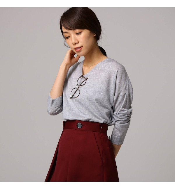 【アンタイトル/UNTITLED】 サイドスリットウールニット