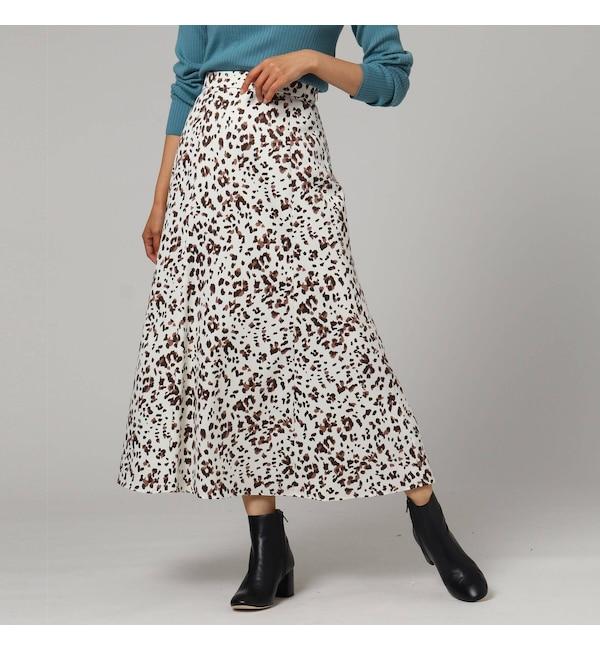 【アンタイトル/UNTITLED】 【洗える】サテンレオパードスカート