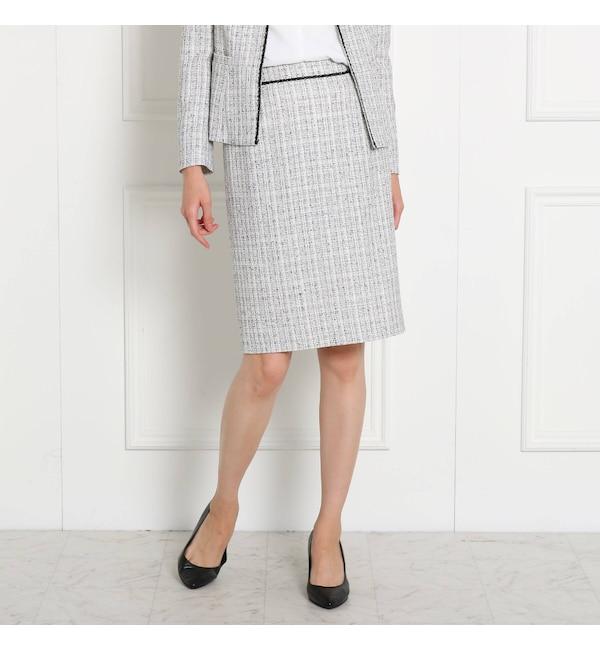 【クード シャンス/COUP DE CHANCE】 【ママスーツ/入学式 スーツ/卒業式 スーツ】 ツイードタイトスカート