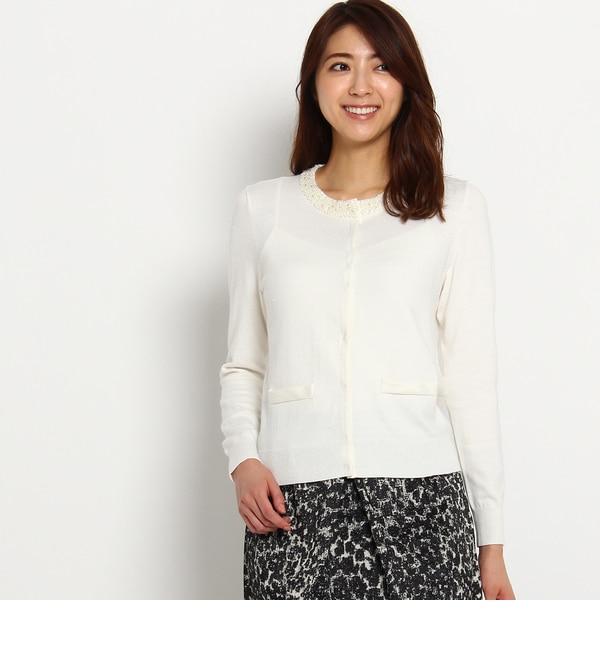 【スーナウーナ/SunaUna】 パールネックニットカーディガン [送料無料]