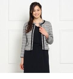 【スーナウーナ/SunaUna】MIXツイードノーカラージャケット[送料無料]