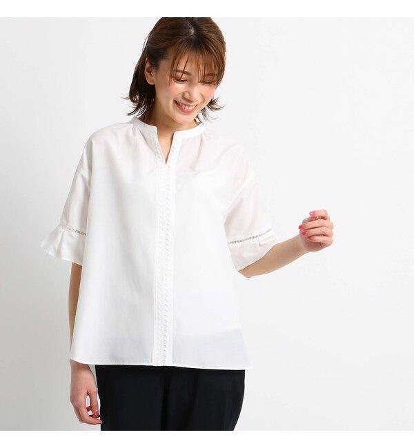 【スーナウーナ/SunaUna】 【洗える】レーススキッパーシャツ