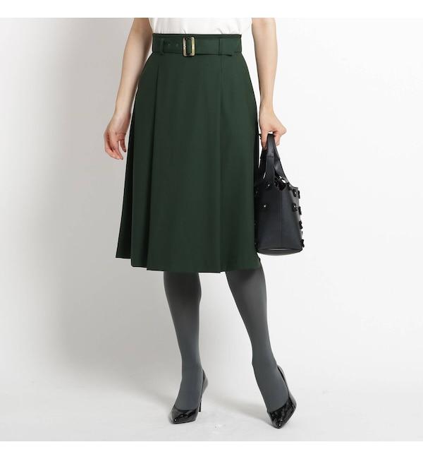 【スーナウーナ/SunaUna】 【洗える】ツイルストレッチベルテッドスカート